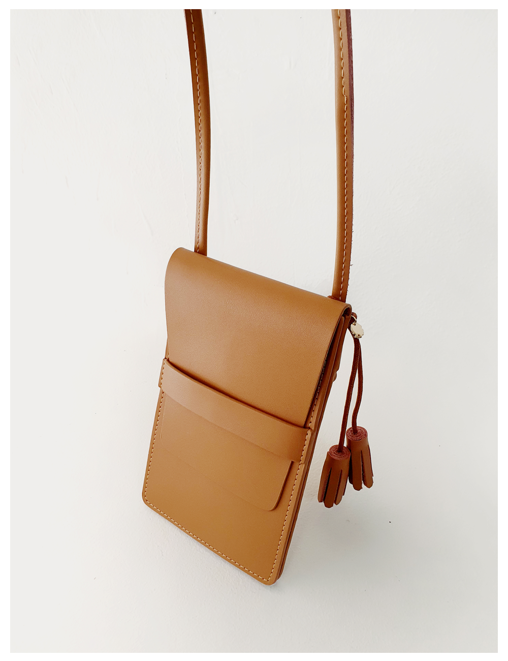 Melba leather phone cross bag_Carmel