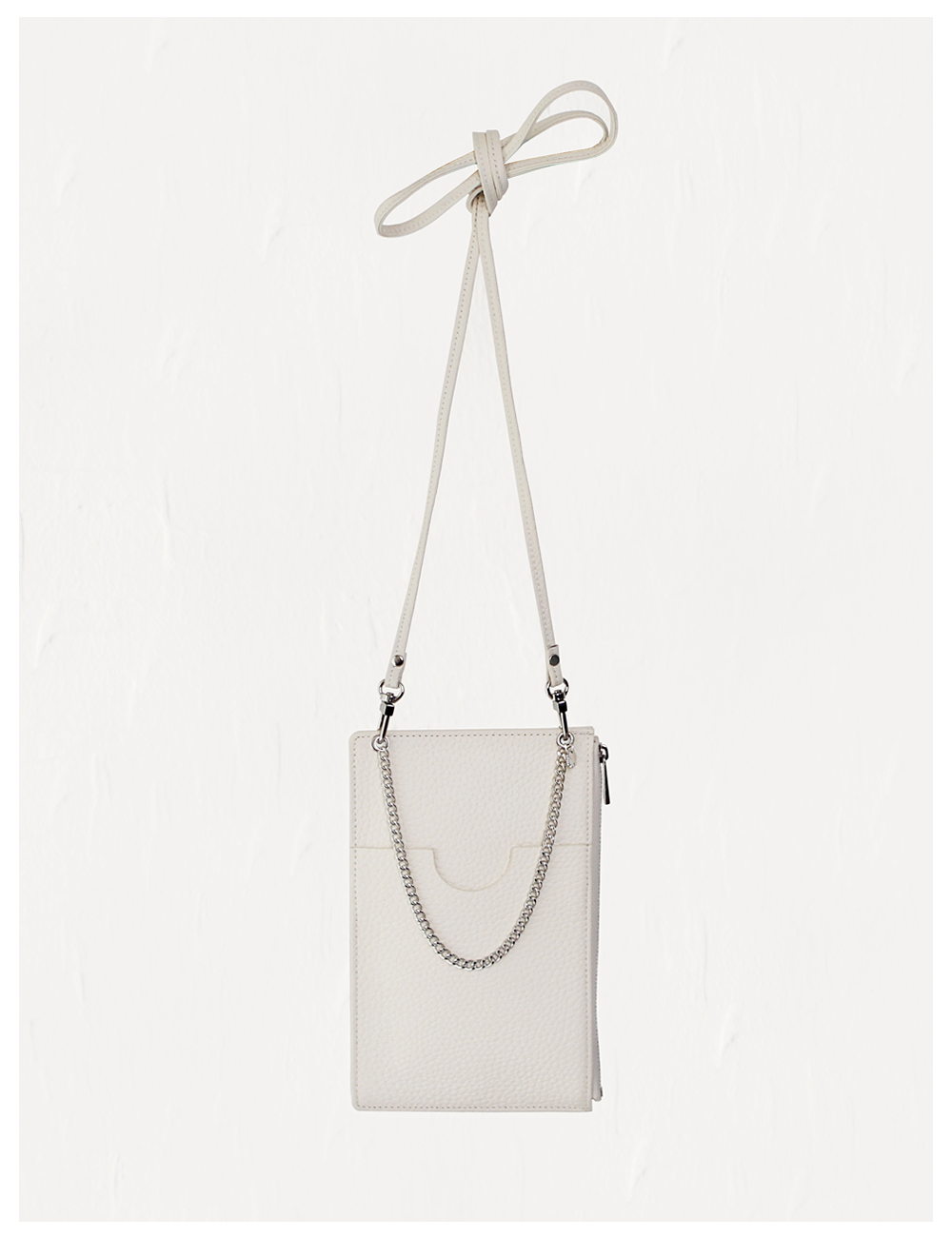 Classy chain leather phone mini bag_Cream