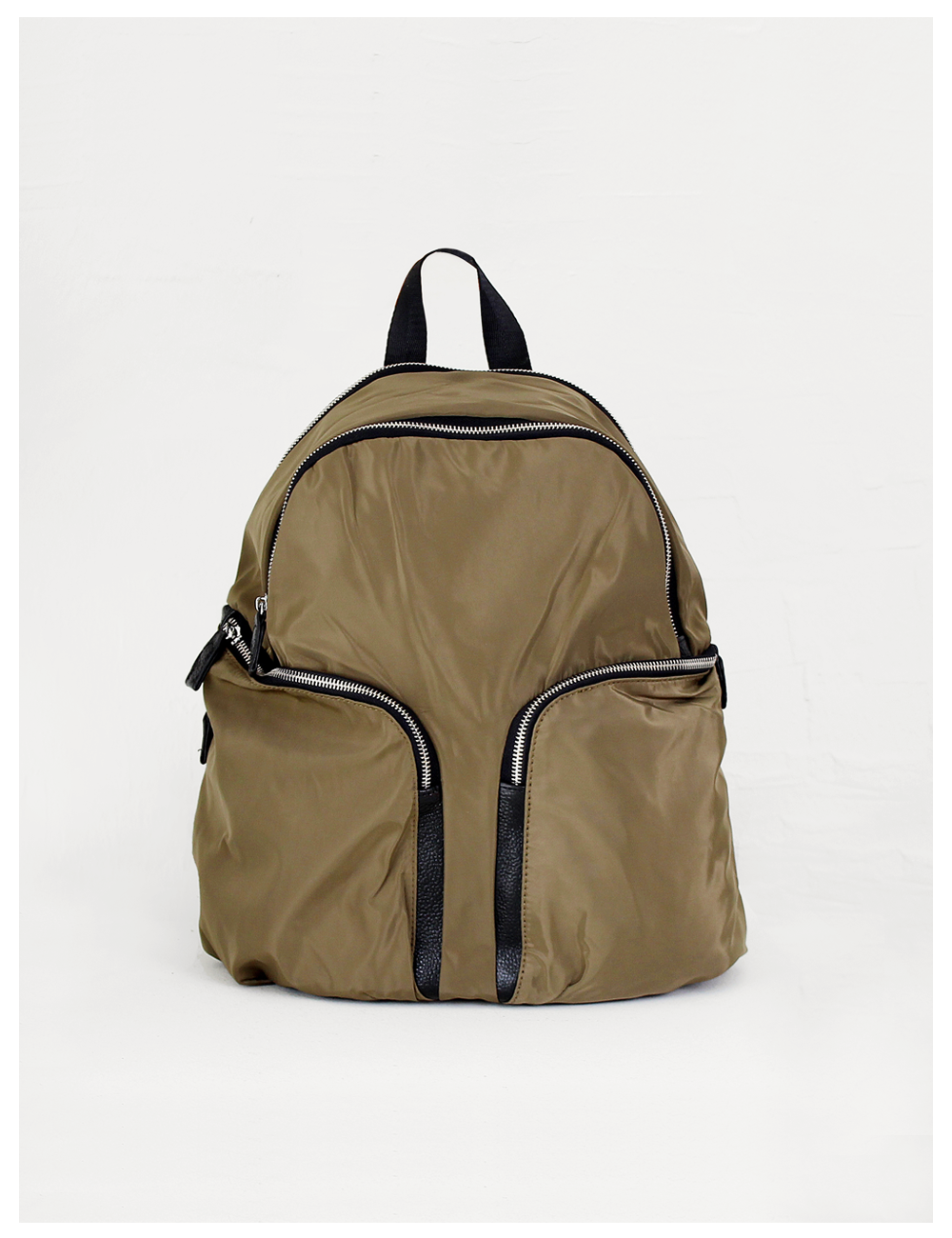 Too fine leather back pack_Khaki