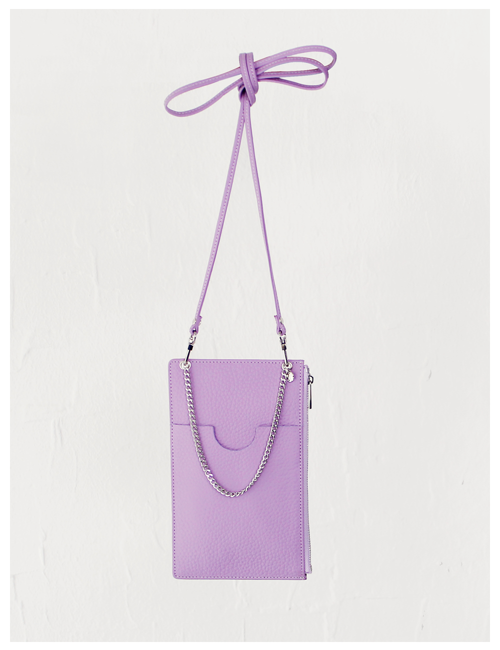 Classy chain leather phone mini bag_Lavender