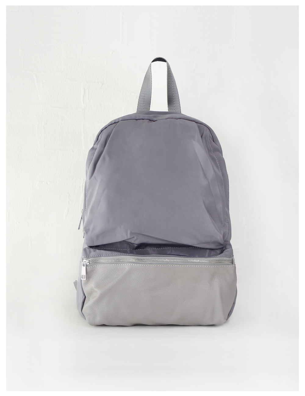 Dave gray leather back pack_Gray