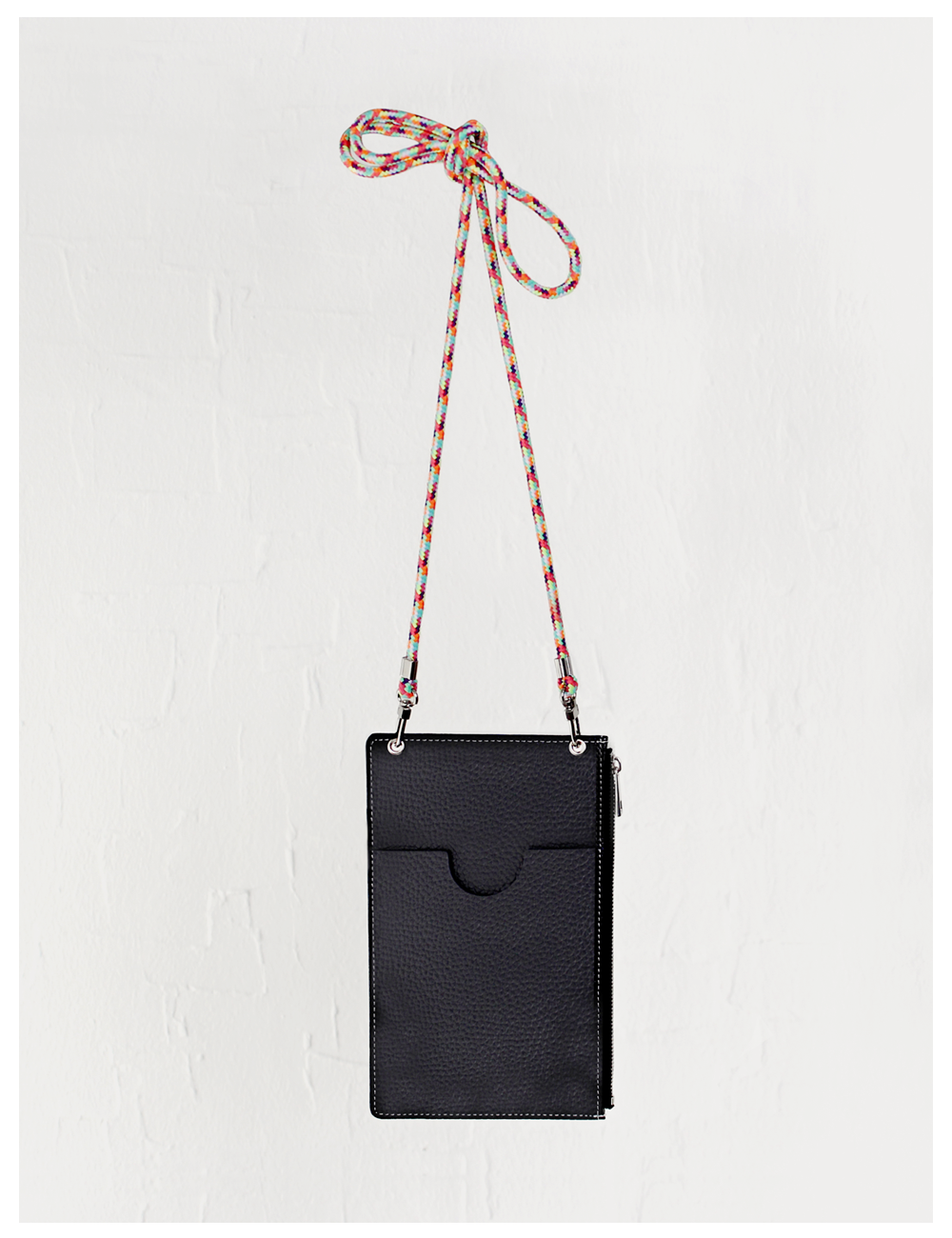 Classy chain leather phone mini bag_Black