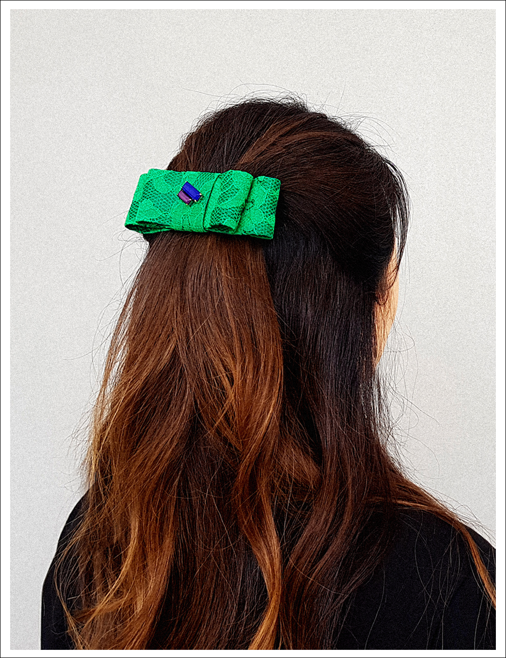 SABRINA GREEN WIDE Hair pin