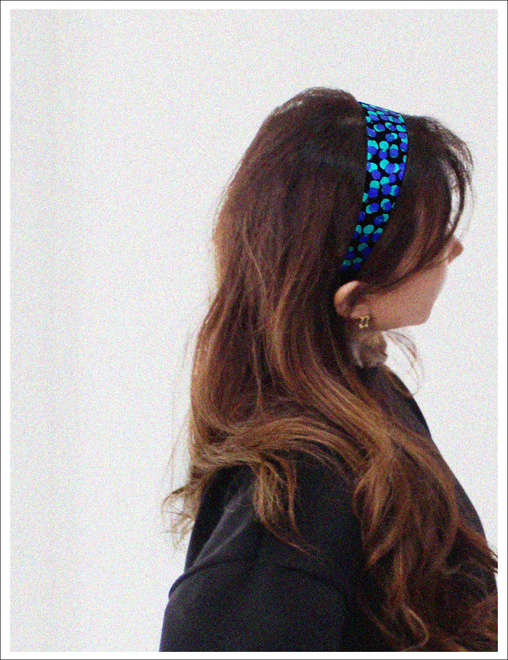 Chunky silk hairband_Blue pattern