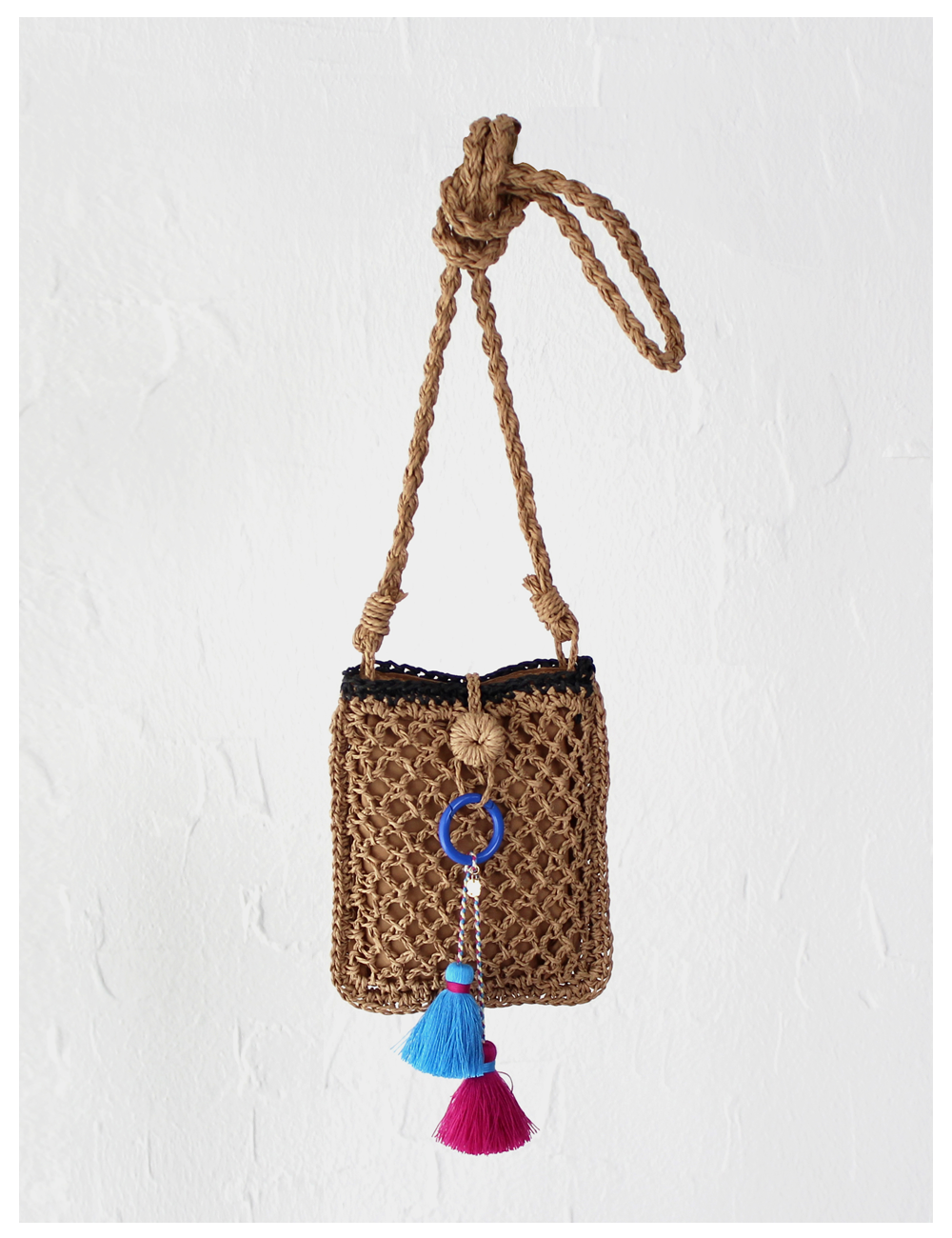 Bombom straw phone pouch_Brown